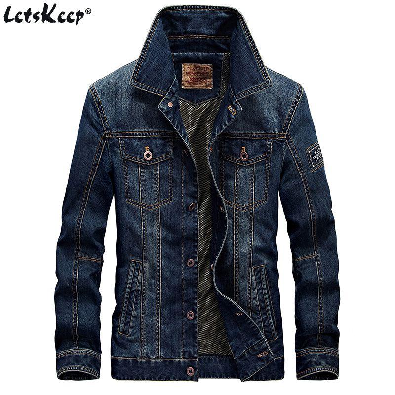 LetsKeep Retro Denim jacket men Autumn Spring Turn-Down Collar jacket men's classic outwear jean jackets coat plus size, MA403