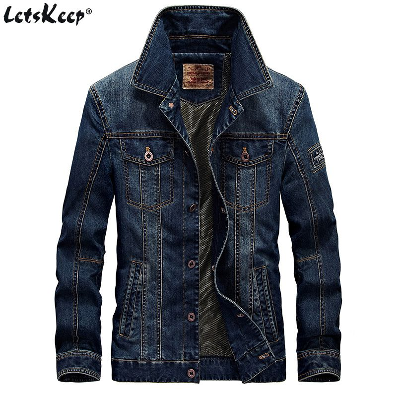 LetsKeep Retro Denim jacket men Autumn Spring Turn-Down Collar jacket men's classic outwear jean jackets coat plus size, MA403