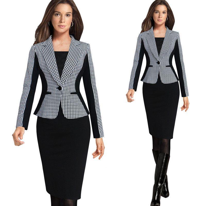 2018 Nouvelle Arrivée Femmes Manches Longues Entaillé Style Blazer Costumes Bureau Casual Plaid Couleur Vêtements Femme Blazer Unique Poitrine