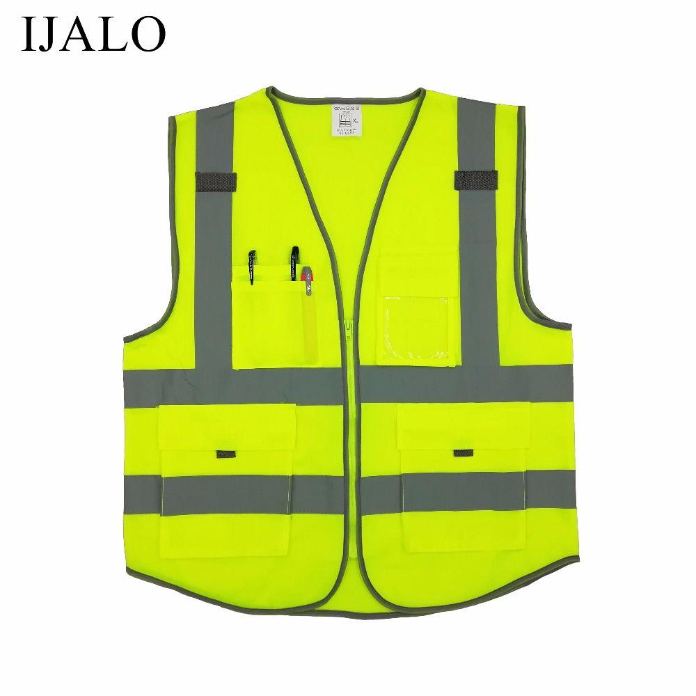 Motorcycle jacket High visibility warning waistcoat fluorescent workwear reflective safety vest  with zipper pocket