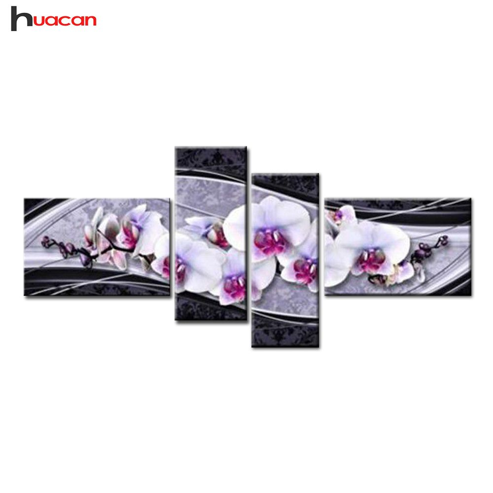 HUACAN new arts DIY 5D diamond embroidery cross stitch diamond painting home decorative gifts fashion flower 4pcs needlework