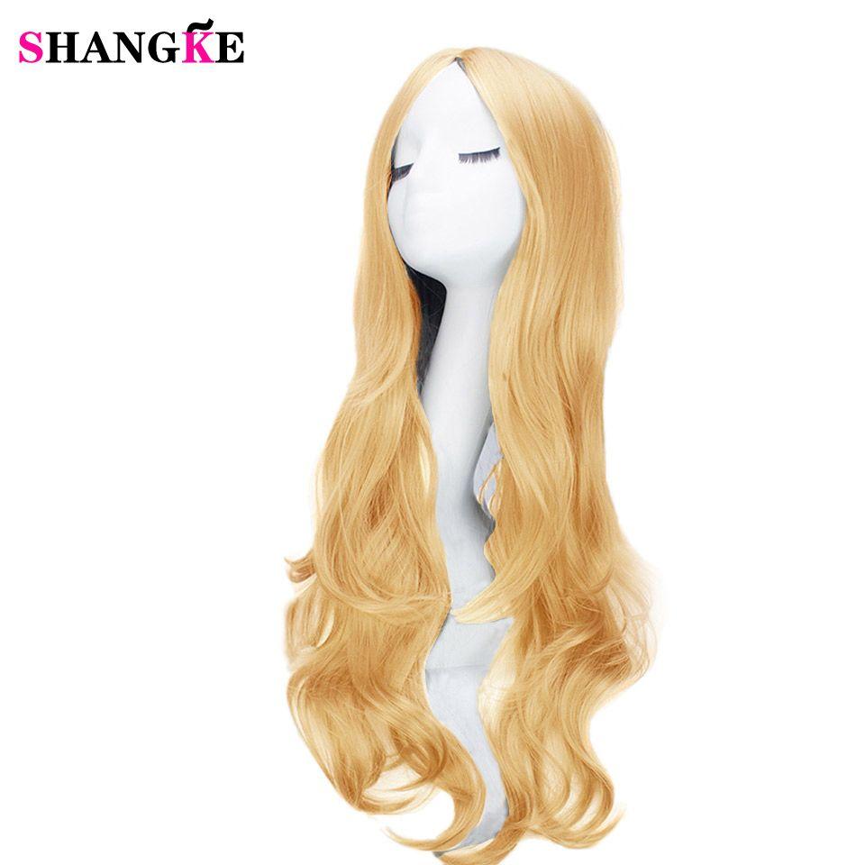 SHANGKE 26 ''Cheveux Longs Ondulés Synthétiques Afro-américains Perruques Pour Les Femmes Noires Naturel Noir Perruques Résistant À La Chaleur Fiber De Cheveux