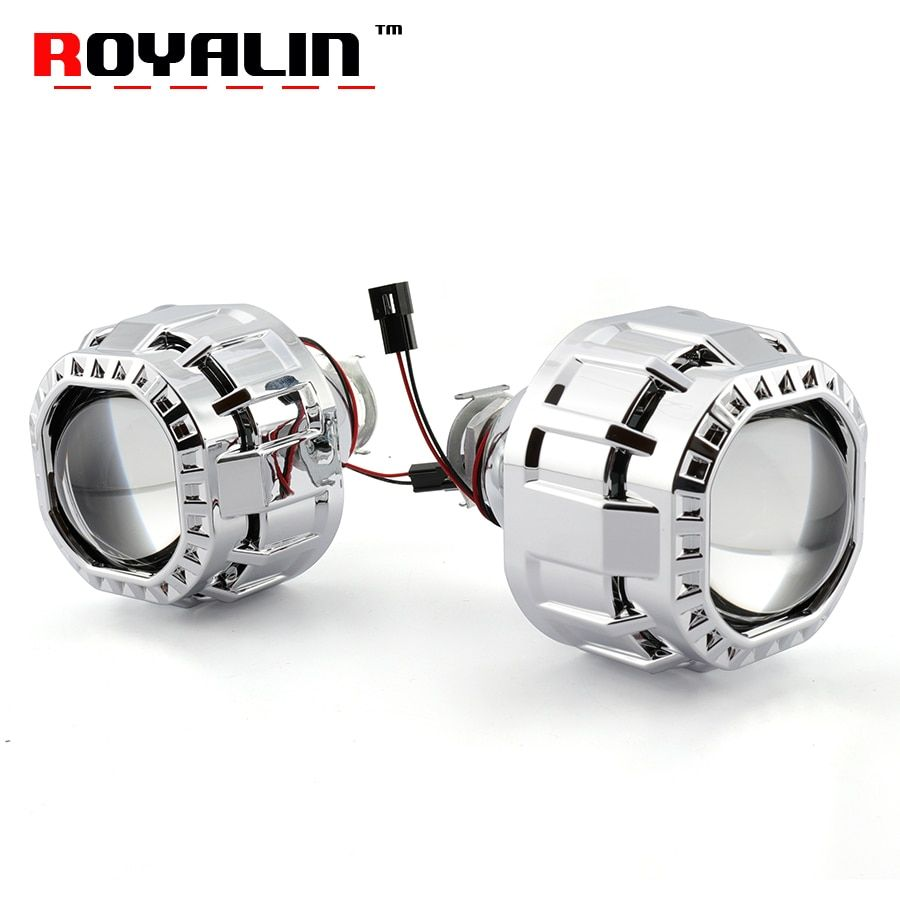 ROYALIN Square Car Mini Bi Halogen Xenon Headlight Lens For H1 H4 H7 Auto Motorcycle Lamp Retrofit Projector W2 2.5 inches DIY