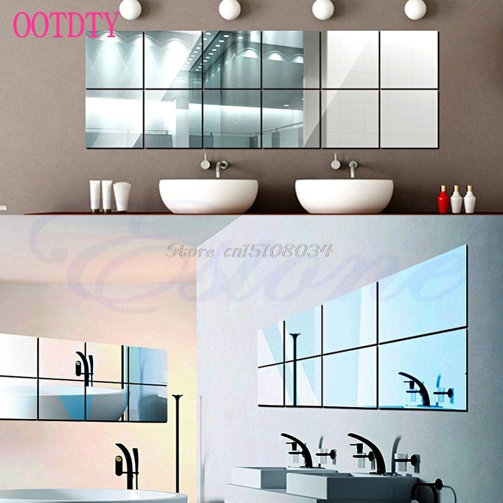 16 Stücke selbstklebend Dekorative Spiegel Fliesen Spiegel Wandaufkleber Spiegel Dekor S08 Drop ship