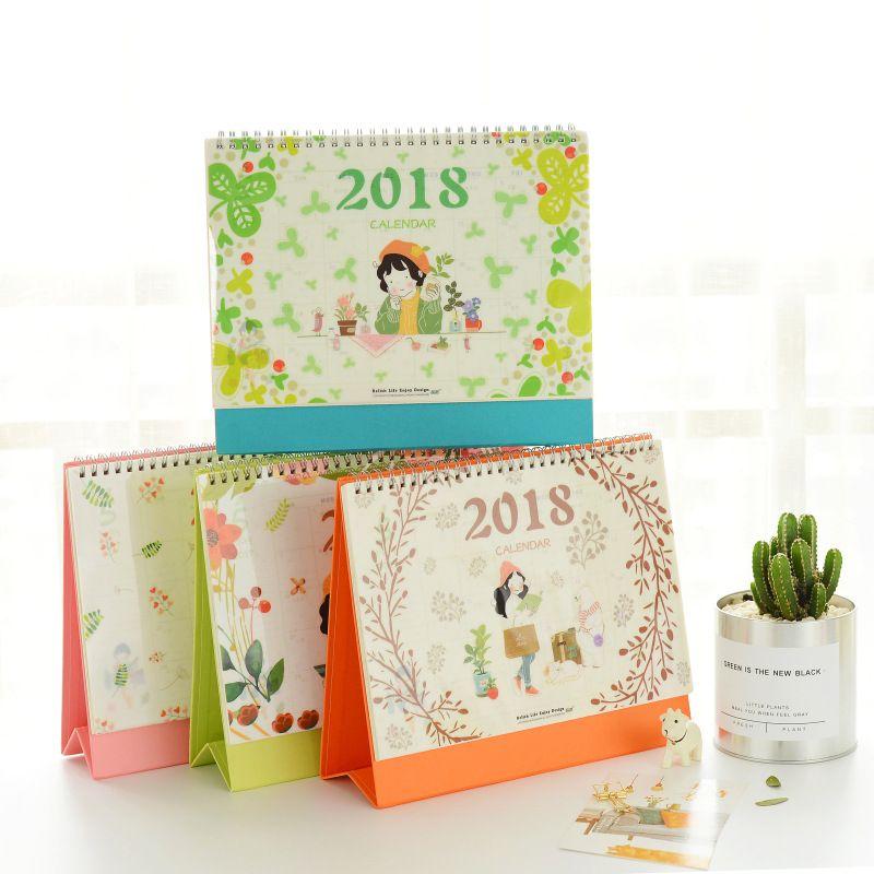 2018 Diy Flor de la Impresión de la muchacha de Escritorio Escritorio de Oficina Calendario de Escritorio Para Hacer la Lista Planificador Diario Libro Suministros Escolares Coreanos de Pie