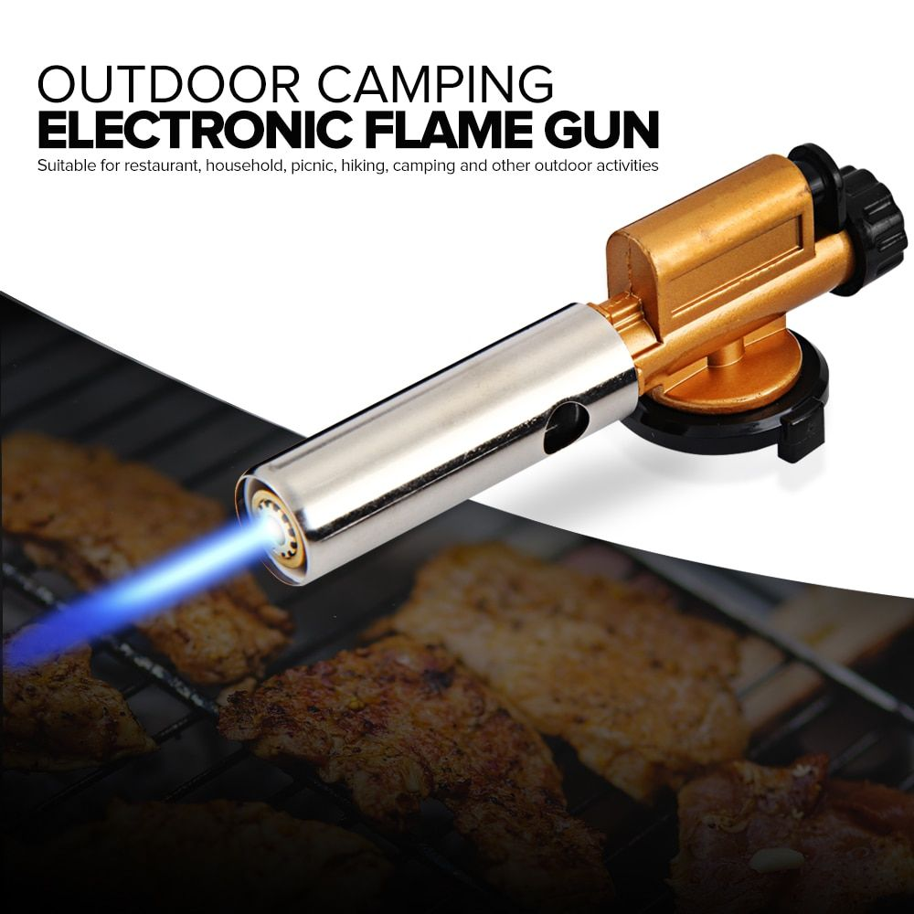 Electronic Ignition Copper Flame Butan Gas Burners Gun Maker Torch Lighter For Outdoor Camping Picnic BBQ Welding Equipment