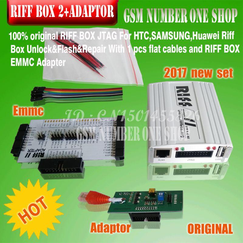 100% original new RIFF BOX V2 JTAG( RIFF BOX+ EMMC+ Adapter +cables)For HTC,SAMSUNG,Huawei Riff Box Unlock&Flash&Repair