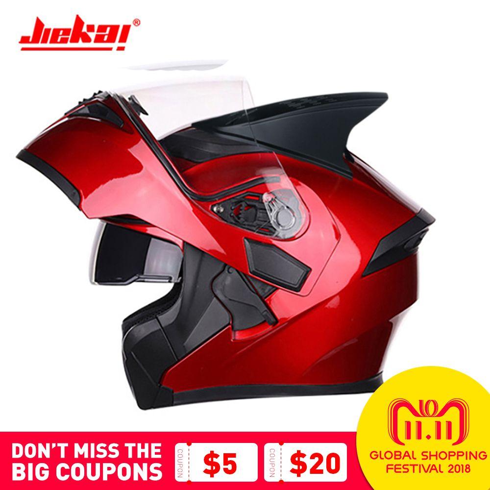 JIEKAI Motorrad Helm Modulare Moto Helm Racing Flip Up Helm Casco Moto Motorrad Helm Mit Inneren Sonnenblende Doppel Objektiv