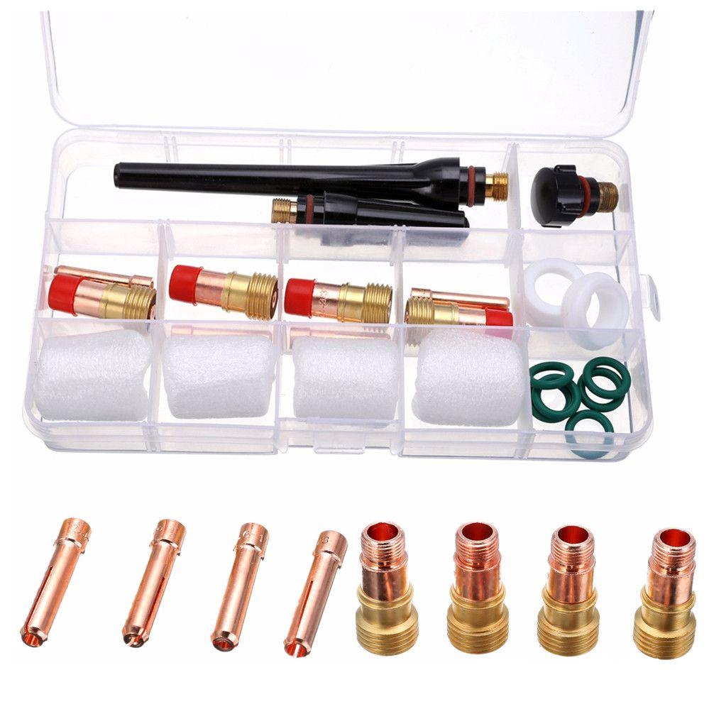 23 stücke Professionelle Wig-schweißbrenner Gas Objektiv Kit mit 4 stücke #10 Pyrex Tasse Für Tig WP-17/ 18/26 taschenlampe