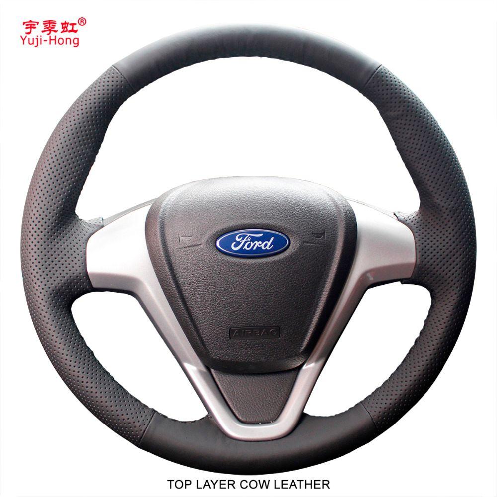 Yuji-Hong Top Schicht Echte Kuh Leder Auto Lenkrad Deckt Fall für Ford Fiesta 2009-2013 EcoSport 2013 abdeckung Auto-styling