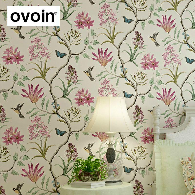 Американский Стиль Спальня покрытия стен современный Винтаж розовые цветочные стены Бумага синий тропическая бабочка Товары для птиц цвет...