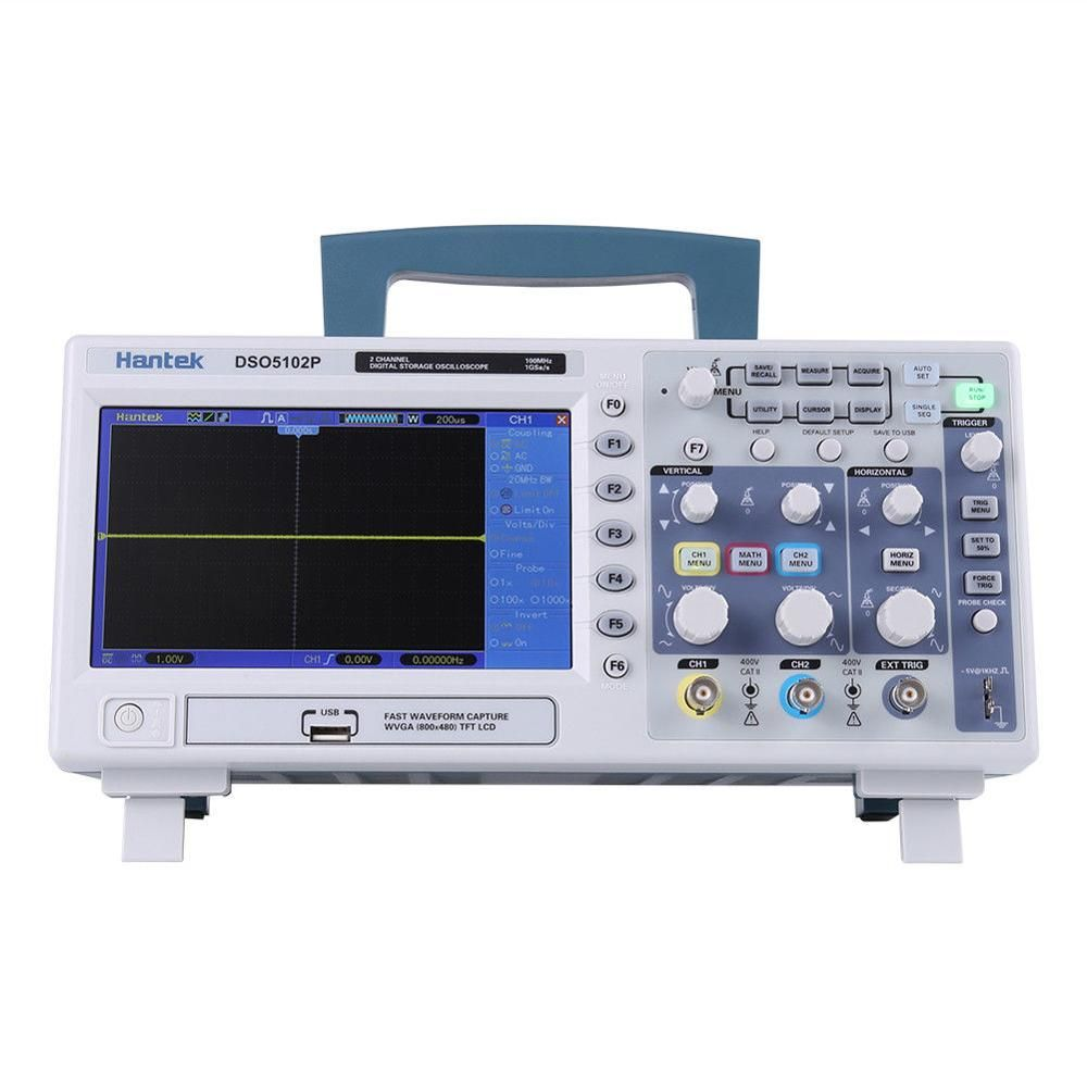 Hantek DSO5102P Digital Storage Oscilloscope 2CH 100MHz 1GSa/s Real Time sample rate USB host and device connectivity 7 Inch RU