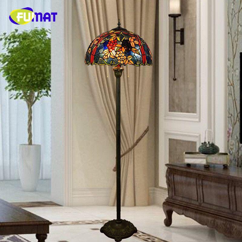FUMAT American Pastoral Creative Tiffany Stained Glass Morning Glory living room restaurant villa Decoration Grape Floor Lamp