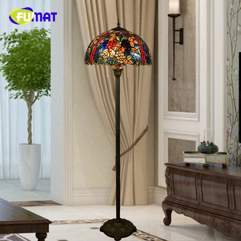 FUMAT American Pastoral Creative Tiffany Stained Glass Morning Glory living room restaurant villa Decoration Grape Floor Lamp