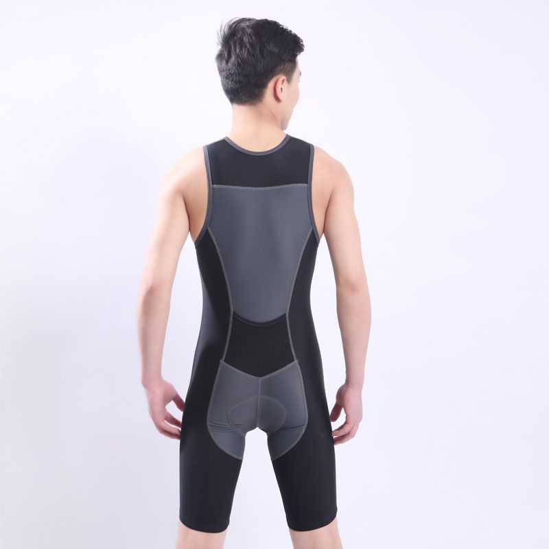 Fast Shipping Ironman Triathlon Skinsuit Sleeveless Integrated Suit Swimwear One-piece Cycling Jersey For Training Competition