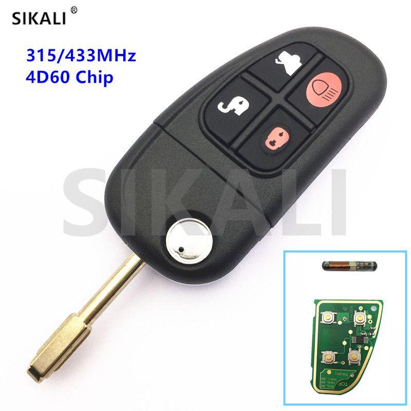 QCONTROL 4BT Flip Remote Key for Jaguar X-Type S-Type S Type  X Type XJ XK 315MHz/433Mhz 4D60 Chip