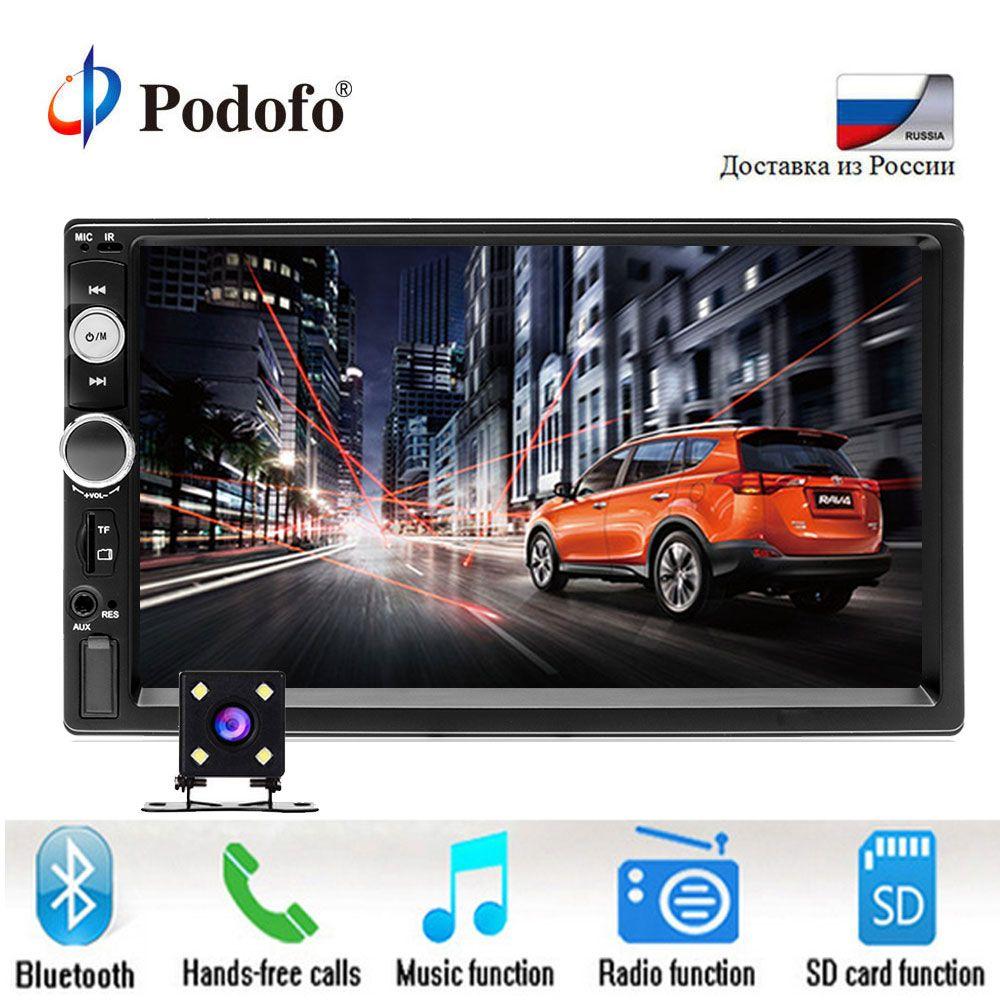 Podofo 2 din Autoradio 7 lecteur HD MP5 ecran tactile affichage numérique Bluetooth USB SD multimédia 2din Autoradio caméra de recul