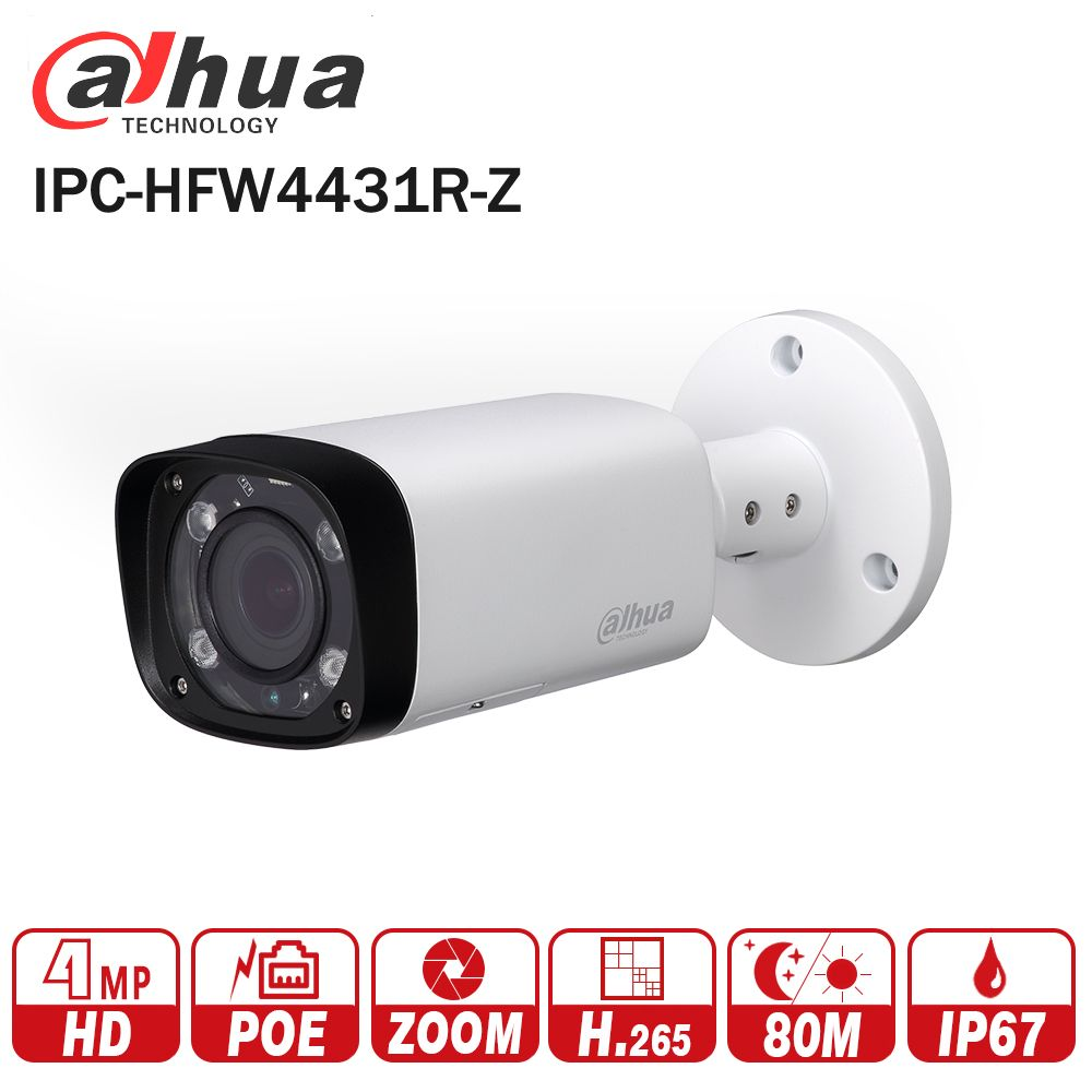 Dahua IPC-HFW4431R-Z 4MP Night Camera 80m IR with 2.7~12mm VF lens Motorized Zoom Auto Focus Bullet IP Camera CCTV Security POE