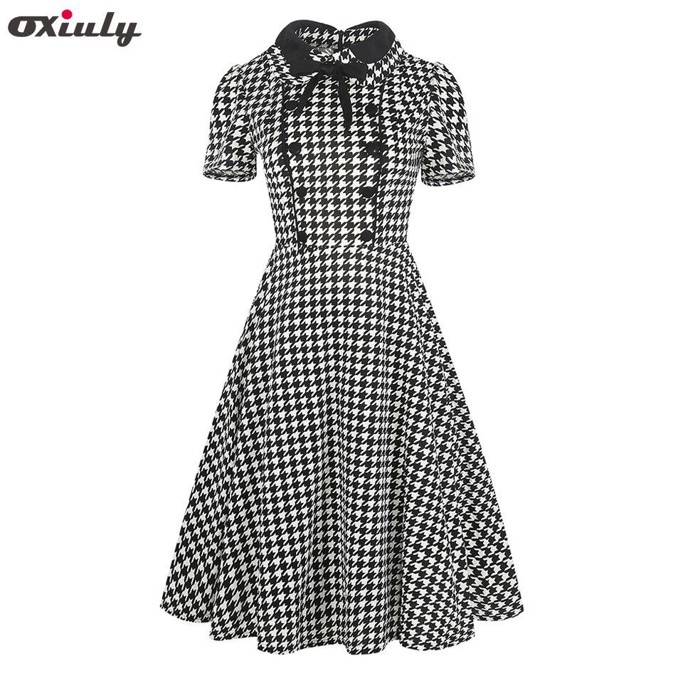 Oxiuly Femmes Vêtements 2018 D'été Vichy Polka Dot Poule Swing Robe Arc Pin up Vintage 60 s 50 s Rockabilly a-ligne Robes