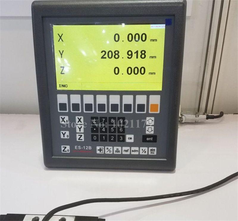 Neue Easson ES-12B 3 achsen digitalanzeige mühle drehmaschine 3 achse DRO system und 3 stücke GS10 digitale lineare skala für drehmaschine fräsen