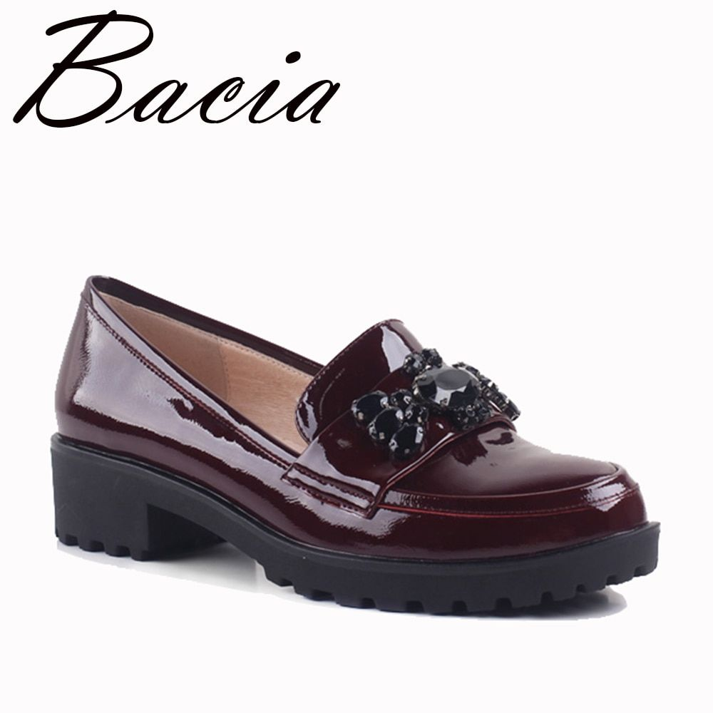 Bacia Wine Red Full Grain Leather Flats Bear String Bead Patent Genuine Leather Shoes High Quality Casual Women Flats SA007
