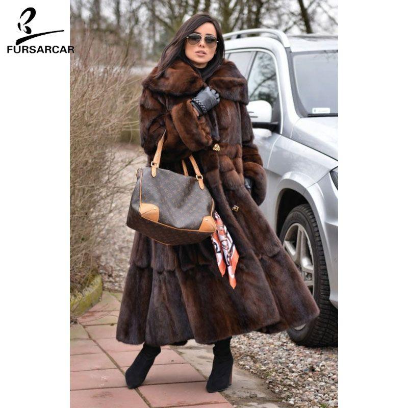 FURSARCAR Luxus Ganz Pelt Echt Nerz Pelzmantel Frauen Mit Pelz Kragen 2018 Neue Mode Warme Jacke Weibliche Nerz mantel Für Feamle