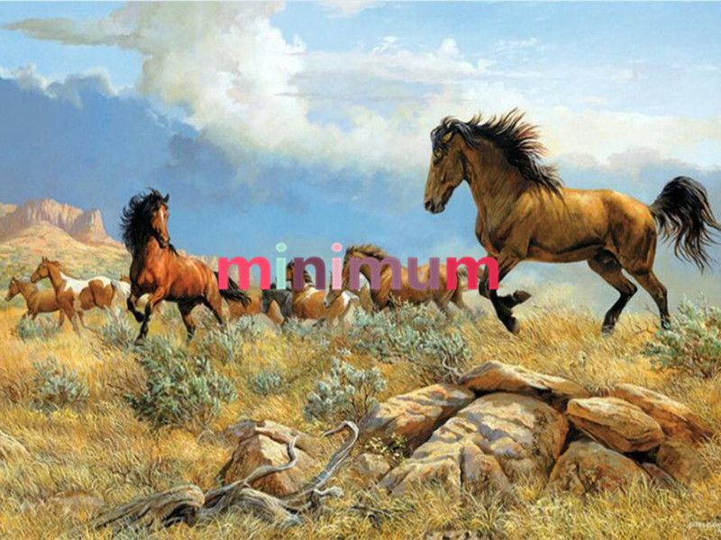 Cute full diamond painting horse landscape cross stich embroidery needlework for home decoration lover gift