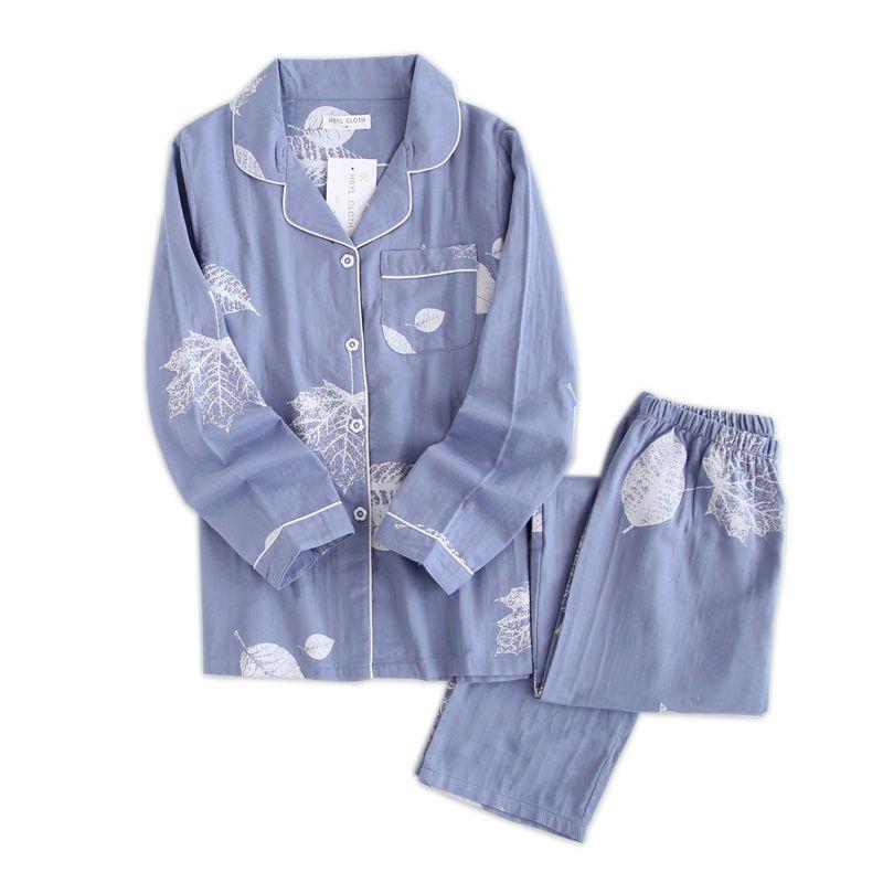 Korea Fresh maple leaf pajama sets women 100% gauze cotton long sleeve casual sleepwear women pyjama pijamas para mujer