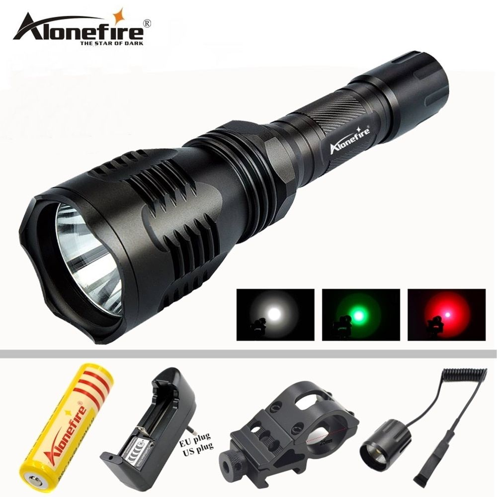 AloneFire HS-802 Hunting LED Flashlight White Green Red Light Long Distance Power By 18650 Battery With Gun Mount Remote Switch