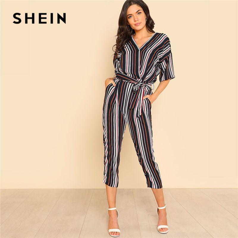 SHEIN Self Belted Striped Wrap OL Style Jumpsuit Women V neck Half Sleeve Casual Jumpsuit 2018 Spring Elegant Work Jumpsuit