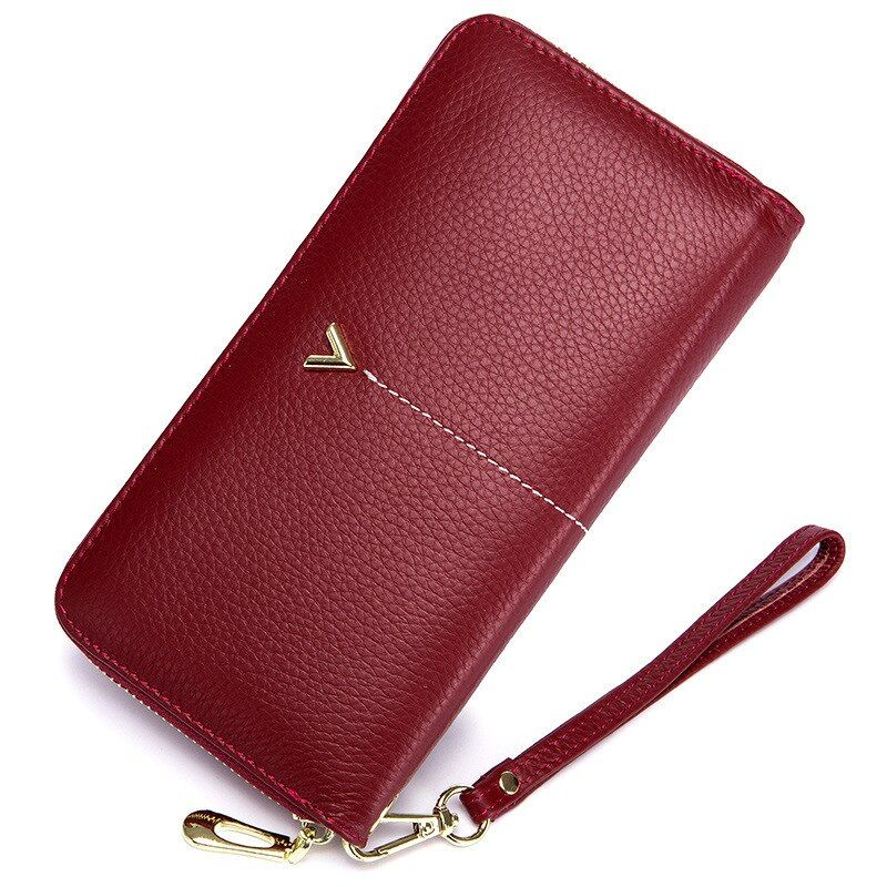 2018 Luxury Brand Long Women Wallet with Interior Moblie Female Large Purse Woman Genuine Leather Card Holder Ladies Coin Red