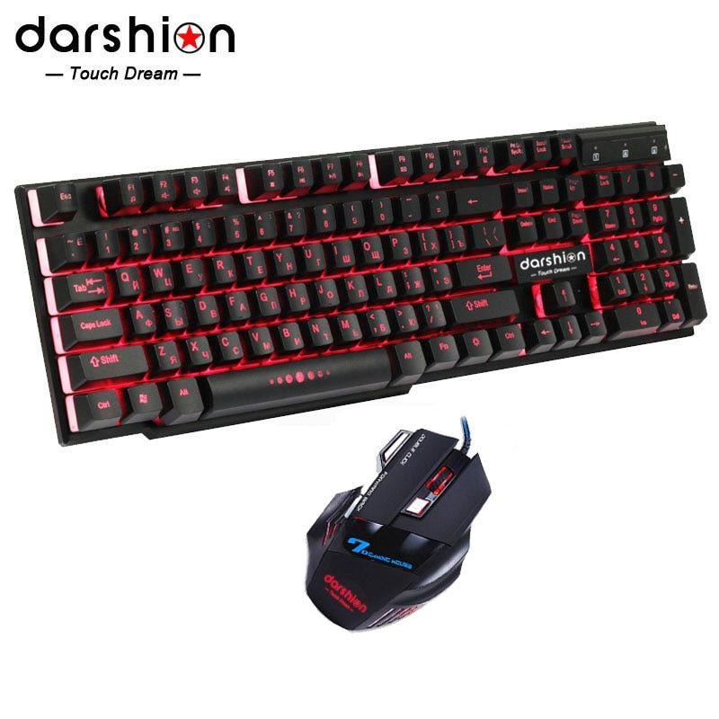 Russian Rainbow Backlit Keyboard Mouse Combo Colorful + Optical Mice USB Wired Backlit Gaming Mouse Breathing Light 3200DPI