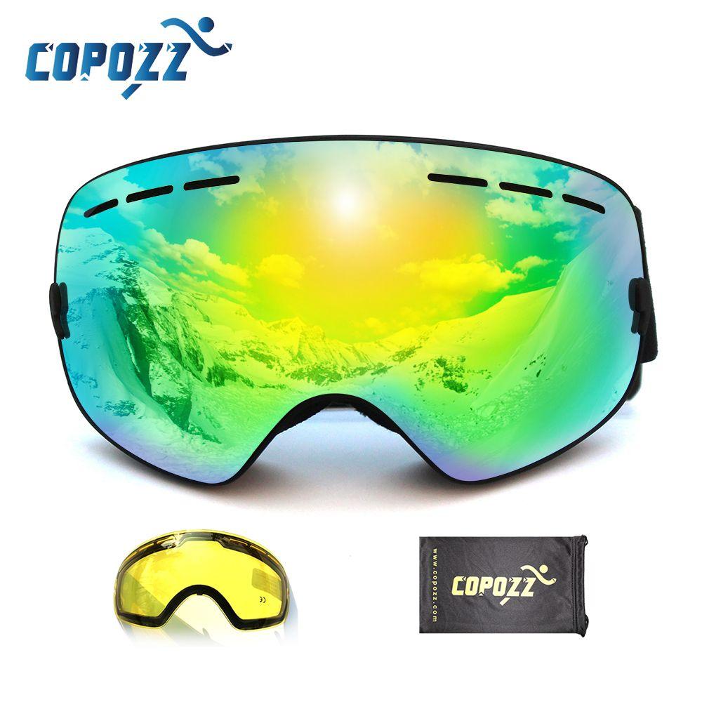 Lunettes de ski professionnelles de marque COPOZZ 2 double lentille anti-buée faible lumière anti-buée lunettes de ski sphériques hommes femmes lunettes de neige