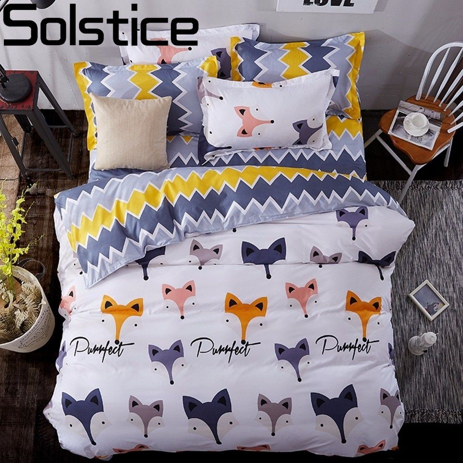 Solstice Home Textile Cartoon Fox 3/<font><b>4pcs</b></font> Bedding Sets Children's Beddingset Bed Linen Duvet Cover Bed Sheet Pillowcase/bed Set