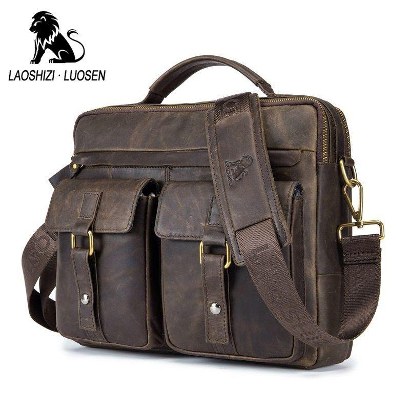 LAOSHIZI LUOSEN Genuine Leather Vintage Men Bag Handbag Business Casual Men's Travel Laptop Bag Shoulder Bags Tote Briefcase