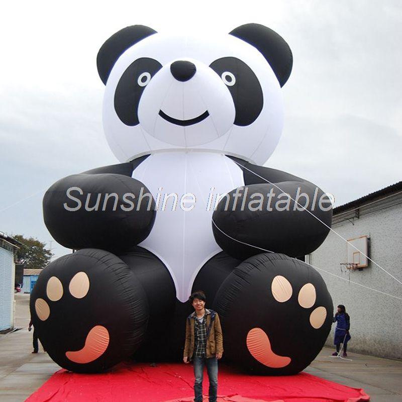 Customized  8mH large inflatable panda model cute black&white giant cartoon panda bear mascot for advertising