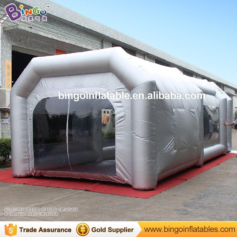 Freies Verschiffen 9x4x3 Mt Licht Silgver Farbe Mobile Aufblasbare Garage Werkstatt Spray Lackierkabine Zelt mit filter für spielzeug zelte