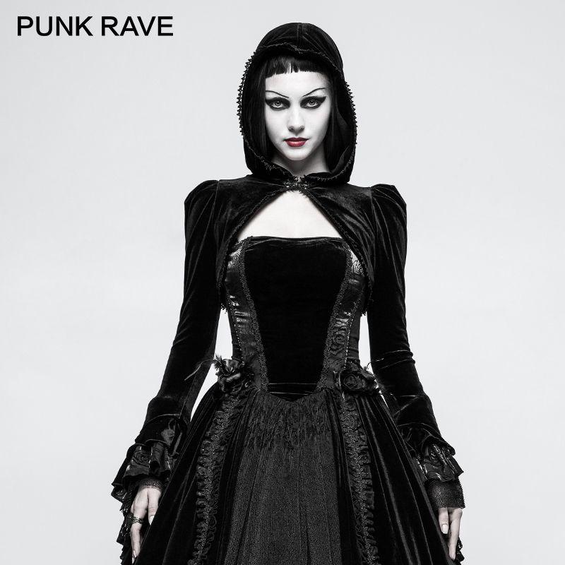 PUNK RAVE Gothic Bolero Velvet Shrug Black Woman Little Jacket Thick Short Coat with Hat Novelty Design Hoodie for Winter