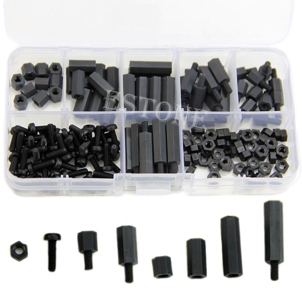 F85 160 Stücke M3 Nylon Schwarz MF Hex Spacer Schraube Mutter Sortiment Kit Ständer Set Box