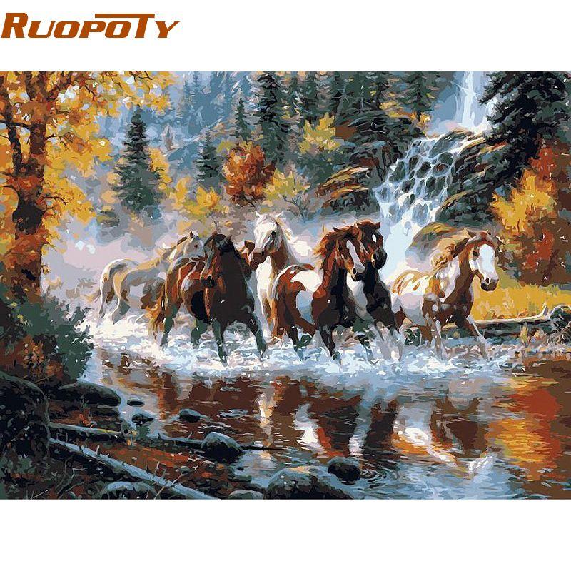 RUOPOTY cadre rivière cheval animaux peinture à la main par numéros Europe peint à la main peinture à l'huile sur toile pour la maison mur Art photo
