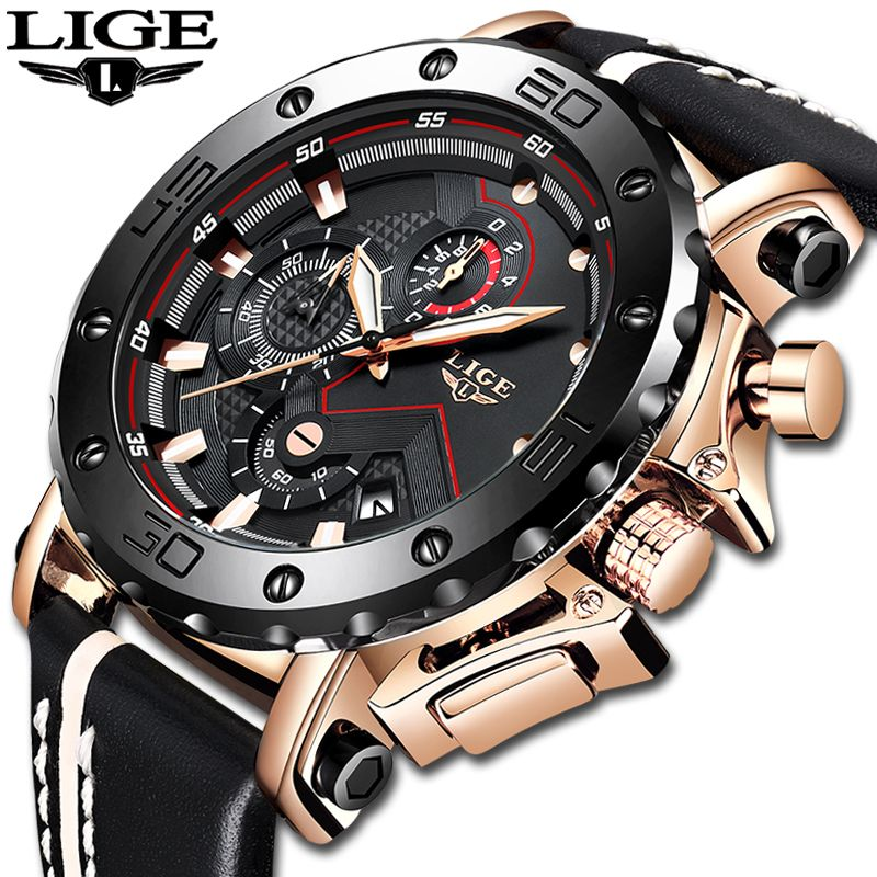 2019 LIGE New Fashion Mens Watches Top Brand Luxury Large Dial Military Army Quartz Watch Casual Waterproof Sport Watch Men+Box