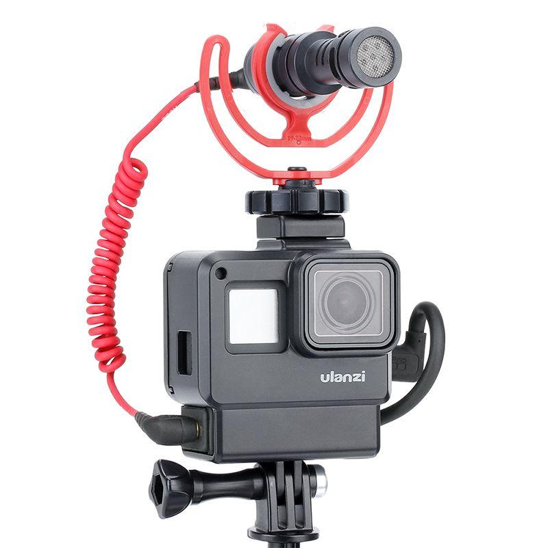 Accessoires de boîtier Gopro ULANZI V2 Vlog pour GoPro Hero 7 6 5 boîtier en plastique avec Port de Microphone d'extension