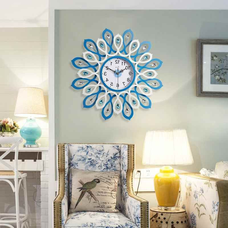 Geekcook European Creative Knot Tree Wall Clock Fashionable Living Room Bedroom Art Clock Diamond Decoration Peacock Wall Clock