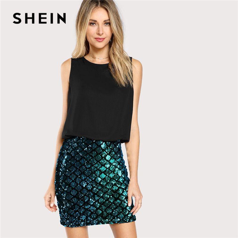 SHEIN Multicolor Party Kontrast Pailletten Split Zwei Ton Sparkle Combo Dünne Kleid Sommer Highstreet Moderne Dame Frauen Kleider