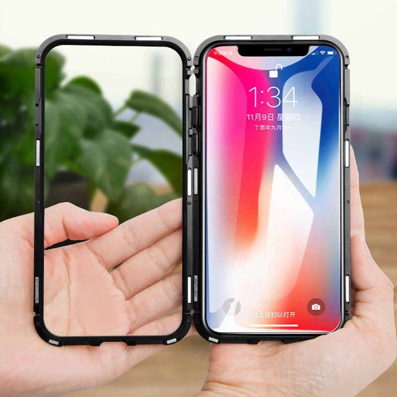 Magnetic Adsorption Case For iphone x 8 Plus 7 Clear Tempered Glass Built-in Magnet Funda Luxury Metal Ultra Phone Capa 8Plus 7P