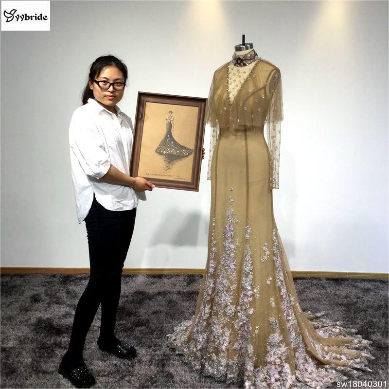 Real de cor Champagne Jersey Chiffon Evening Dress Beading Handwork vestidos SW18040301