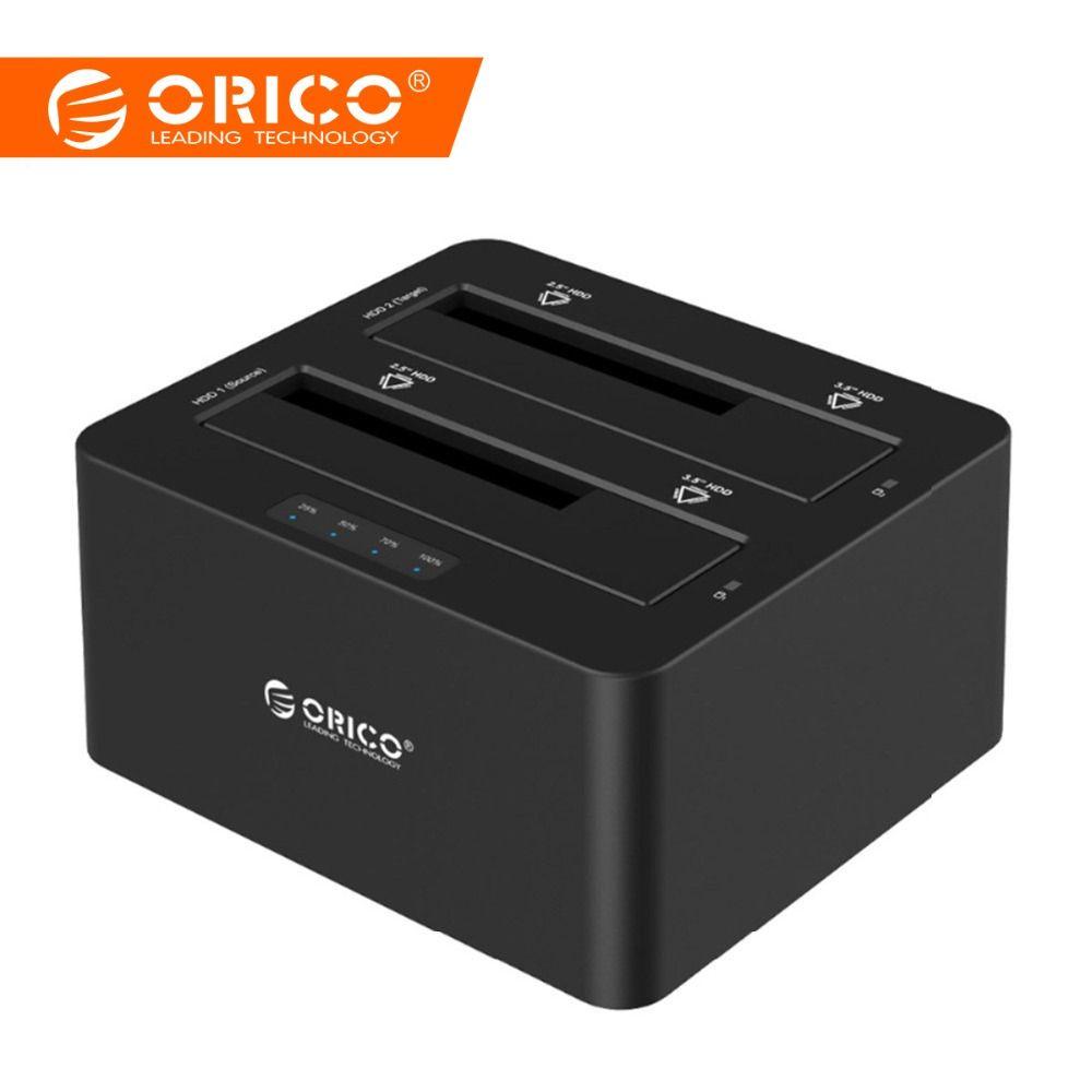 ORICO USB 3.0 à SATA boîtier de disque dur Double Baie Externe station d'accueil pour disque dur pour 2.5 3.5 HDD/SSD Duplicateur Clone Fonction