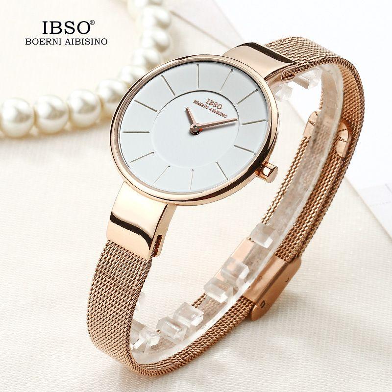 IBSO marque 6.5 MM Ultra-mince Montre à Quartz femmes en acier inoxydable maille et bracelet en cuir femmes montres 2019 mode Montre Femme