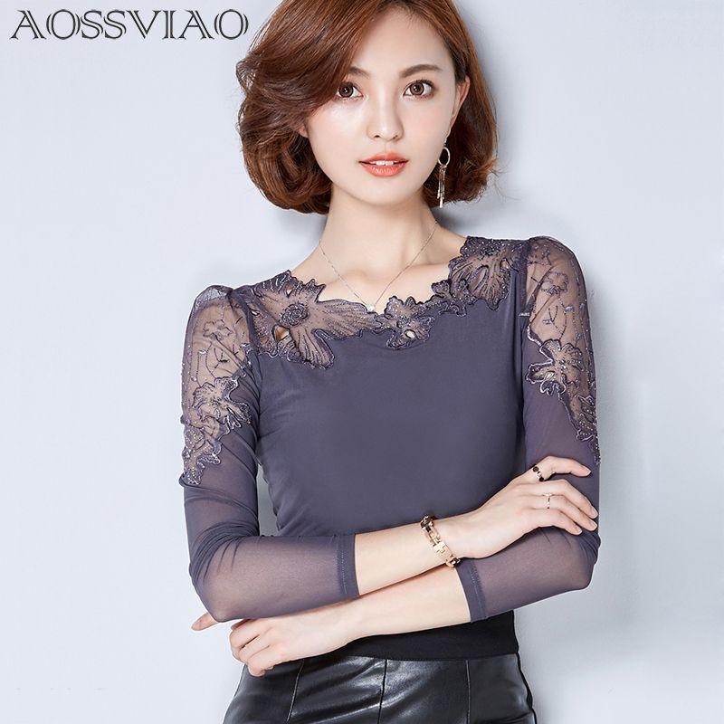 Сорочка Femme Большие размеры кружевная блузка шифоновая рубашка женские Топы Длинные рукава женские блузки blusas Camisas Femininas 2018 Ropa Mujer
