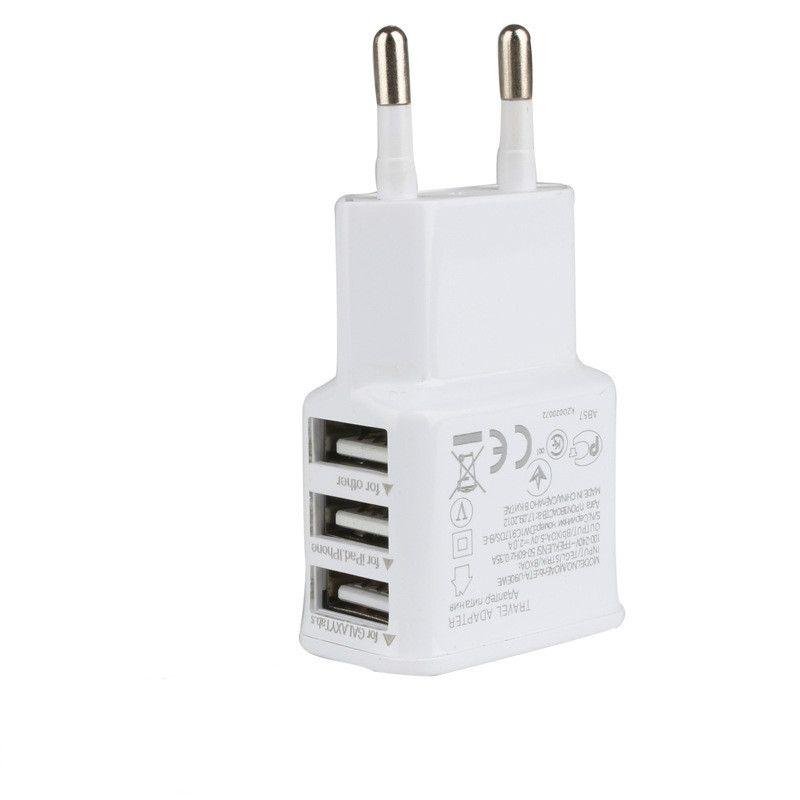 Hohe qualität Eu-stecker 3 Ports Mehrere Wand USB Smart-ladegerät Adapter Handy Gerät 5 V 2A Schnellladung für iPhone iPad